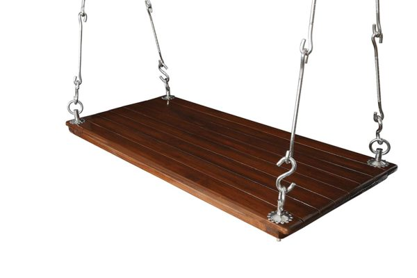 Indoor Outdoor Teak Wood Hanging Swing Set Jhula with Polyurethane Coating for Home Balcony and Garden Upto 200kgs of Human Weight