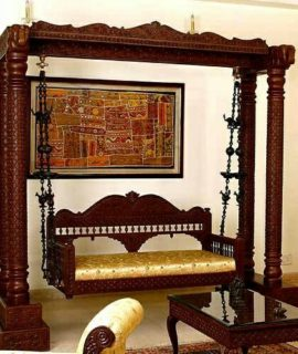 Wooden Teakwood Oonjal jhula unjal Mughal Indoor Swing H42